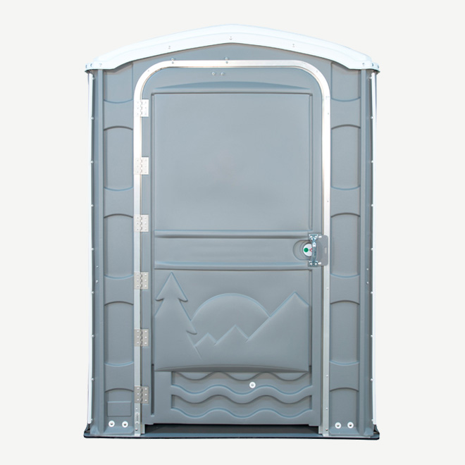 polyportables eau grey portable toilet door open front view