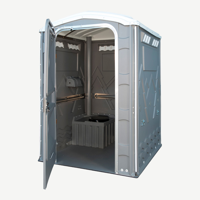 polyportables eau grey portable toilet door open perspective view