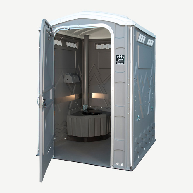 polyportables family room grey portable toilet door open perspective view