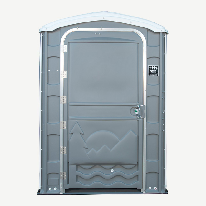 polyportables family room grey portable toilet front view