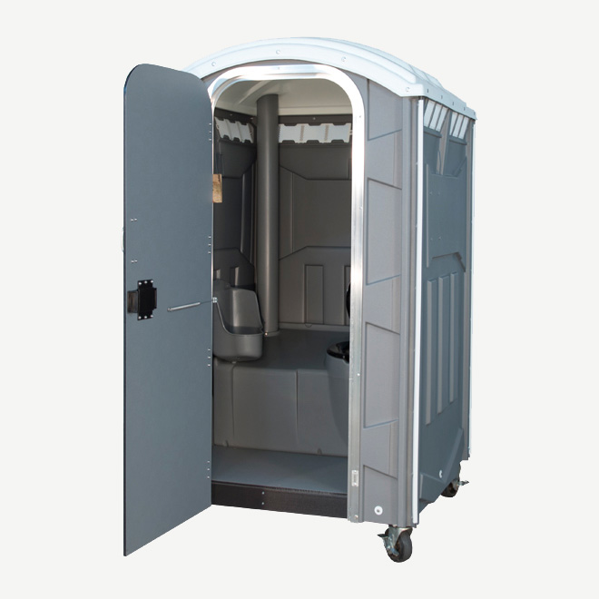polyportables poly mini grey portable toilet door open perspective view