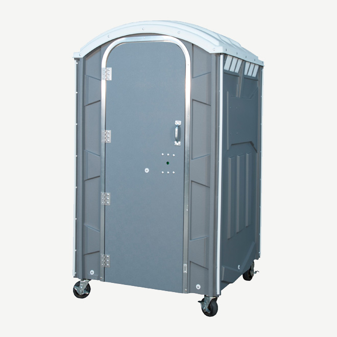 polyportables poly mini grey portable toilet perspective view