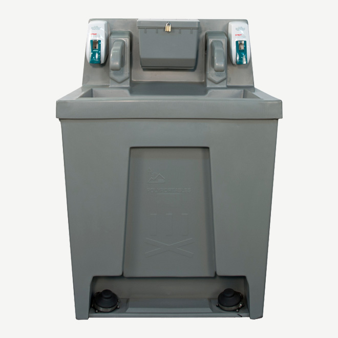polyportables super twin hand wash station front view