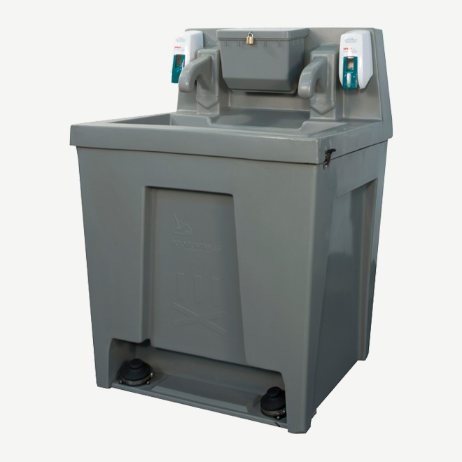 polyportables super twin hand wash station perspective view