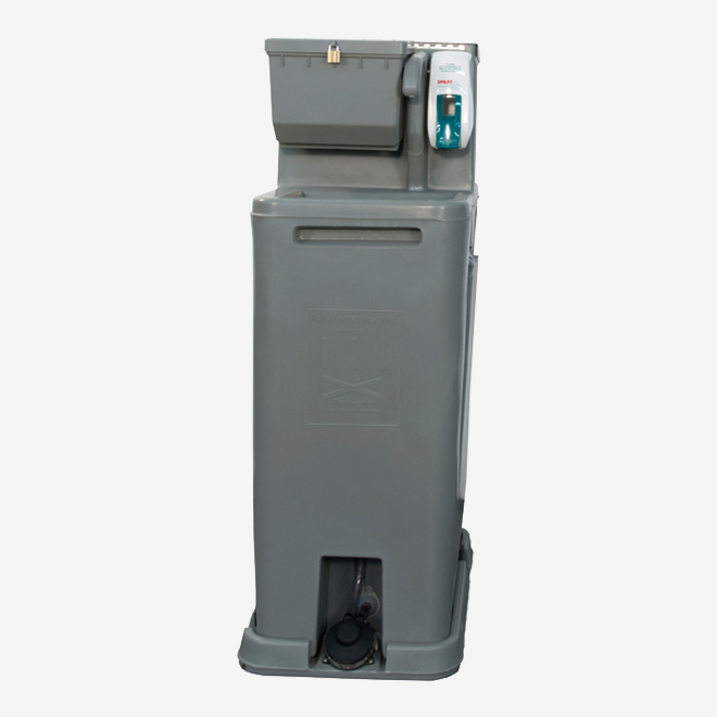 polyportables tag along hand wash station front view